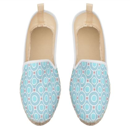 Blue tenderness - Loafer Espadrilles - elegant gift, soft, refined, female, geometric, romantic, airy, fresh, sweet, aerial, guipure - design by Tiana Lofd