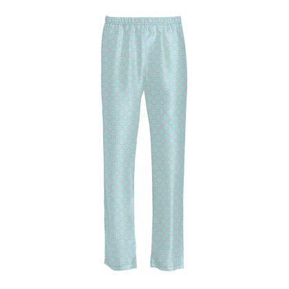 Blue tenderness - Ladies Silk Pyjama Bottoms - elegant gift, soft, refined, female, geometric, romantic, airy, fresh, sweet, aerial, guipure - design by Tiana Lofd
