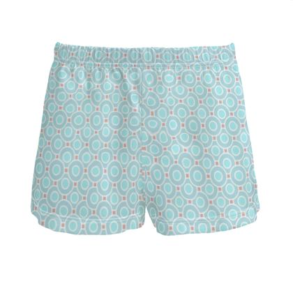 Blue tenderness - Ladies Silk Pyjama Shorts - elegant gift, soft, refined, female, geometric, romantic, airy, fresh, sweet, aerial, guipure - design by Tiana Lofd