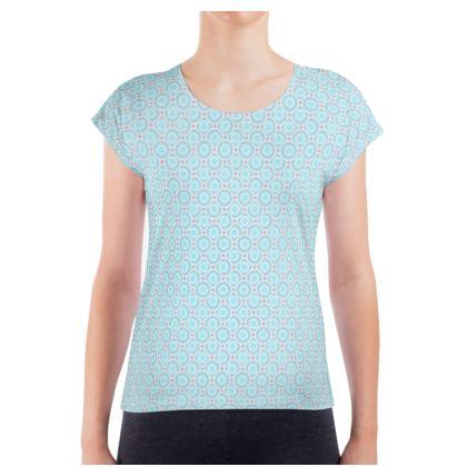 Blue tenderness - Ladies T Shirt - elegant gift, soft, refined, female, geometric, romantic, airy, fresh, sweet, aerial, guipure - design by Tiana Lofd