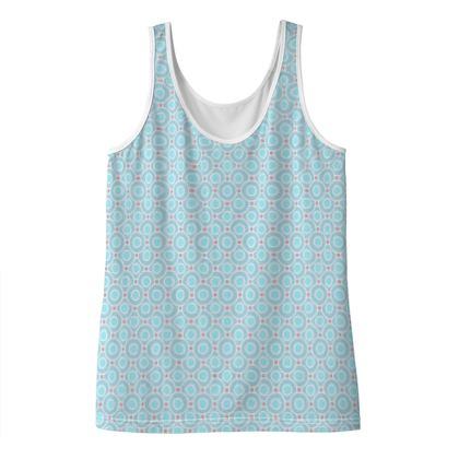 Blue tenderness - Ladies Vest Top - elegant gift, soft, refined, female, geometric, romantic, airy, fresh, sweet, aerial, guipure - design by Tiana Lofd