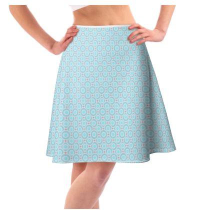 Blue tenderness - Flared Skirt - elegant gift, soft, refined, female, geometric, romantic, airy, fresh, sweet, aerial, guipure - design by Tiana Lofd