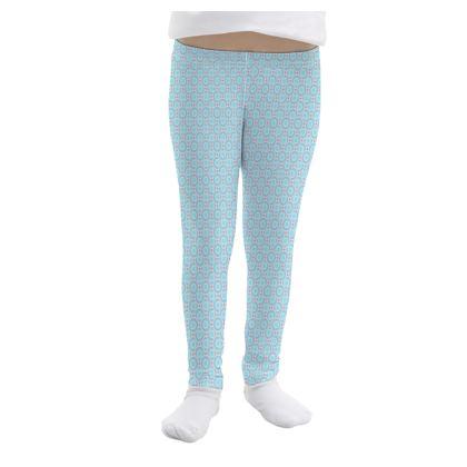 Blue tenderness - Girls Leggings - elegant gift, soft, refined, female, geometric, romantic, airy, fresh, sweet, aerial, guipure - design by Tiana Lofd