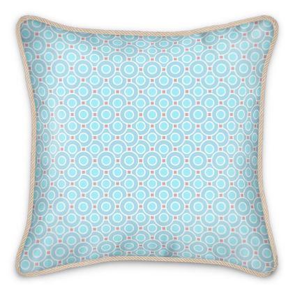Blue tenderness - Silk Cushions - elegant gift, soft, refined, female, geometric, romantic, airy, fresh, sweet, aerial, guipure - design by Tiana Lofd
