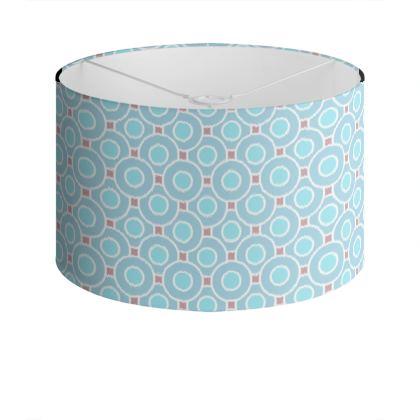 Blue tenderness - Drum Lamp Shade - elegant gift, soft, refined, female, geometric, romantic, airy, fresh, sweet, aerial, guipure - design by Tiana Lofd