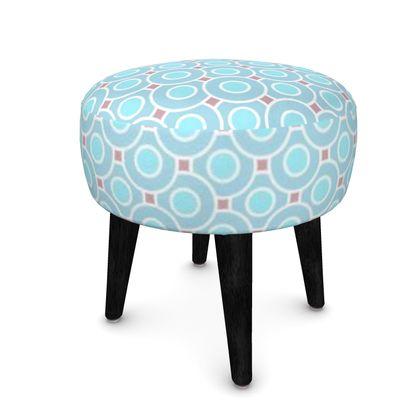 Blue tenderness - Footstool (Round, Square, Hexagonal) - elegant gift, soft, refined, female, geometric, romantic, airy, fresh, sweet, aerial, guipure - design by Tiana Lofd