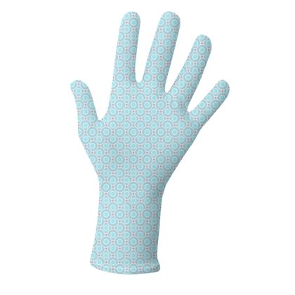 Blue tenderness - Lycra Gloves - elegant gift, soft, refined, female, geometric, romantic, airy, fresh, sweet, aerial, guipure - design by Tiana Lofd