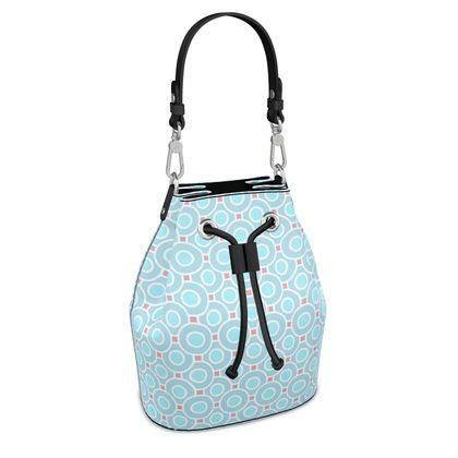 Blue tenderness - Bucket Bag - elegant gift, soft, refined, female, geometric, romantic, airy, fresh, sweet, aerial, guipure - design by Tiana Lofd