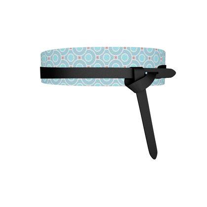 Blue tenderness - Womens Leather Wrap Belt - elegant gift, soft, refined, female, geometric, romantic, airy, fresh, sweet, aerial, guipure - design by Tiana Lofd