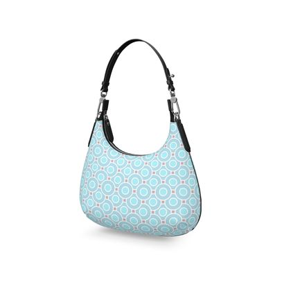 Blue tenderness - Mini Curve Bag - elegant gift, soft, refined, female, geometric, romantic, airy, fresh, sweet, aerial, guipure - design by Tiana Lofd