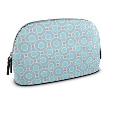 Blue tenderness - Premium Nappa Make Up Bag - elegant gift, soft, refined, female, geometric, romantic, airy, fresh, sweet, aerial, guipure - design by Tiana Lofd