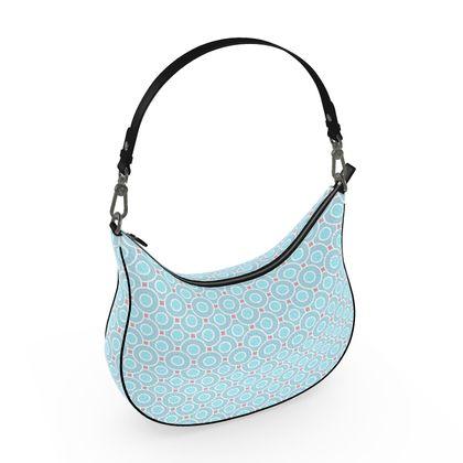 Blue tenderness - Curve Hobo Bag - elegant gift, soft, refined, female, geometric, romantic, airy, fresh, sweet, aerial, guipure - design by Tiana Lofd