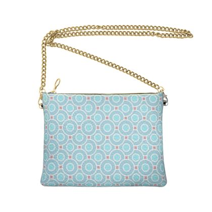 Blue tenderness - Crossbody Bag With Chain - elegant gift, soft, refined, female, geometric, romantic, airy, fresh, sweet, aerial, guipure - design by Tiana Lofd