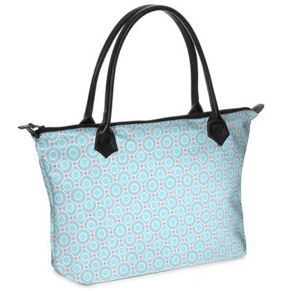 Blue tenderness - Zip Top Handbag - elegant gift, soft, refined, female, geometric, romantic, airy, fresh, sweet, aerial, guipure - design by Tiana Lofd