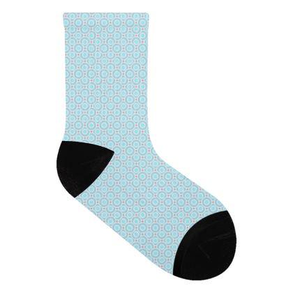 Blue tenderness - Socks - elegant gift, soft, refined, female, geometric, romantic, airy, fresh, sweet, aerial, guipure - design by Tiana Lofd