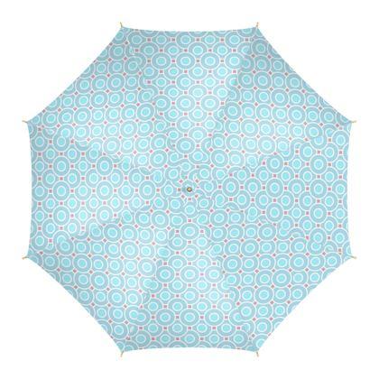 Blue tenderness - Umbrella - elegant gift, soft, refined, female, geometric, romantic, airy, fresh, sweet, aerial, guipure - design by Tiana Lofd