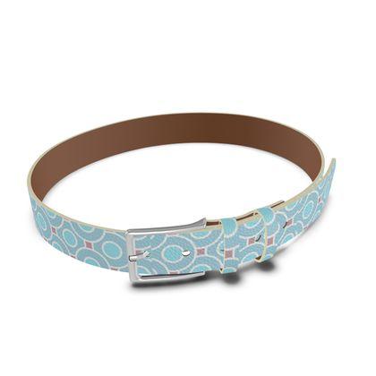 Blue tenderness - Leather Belt - elegant gift, soft, refined, female, geometric, romantic, airy, fresh, sweet, aerial, guipure - design by Tiana Lofd