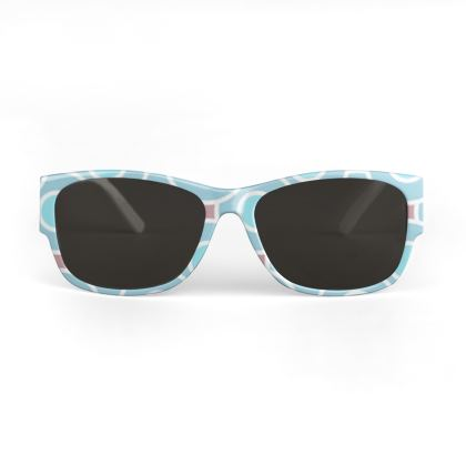 Blue tenderness - Sunglasses - elegant gift, soft, refined, female, geometric, romantic, airy, fresh, sweet, aerial, guipure - design by Tiana Lofd