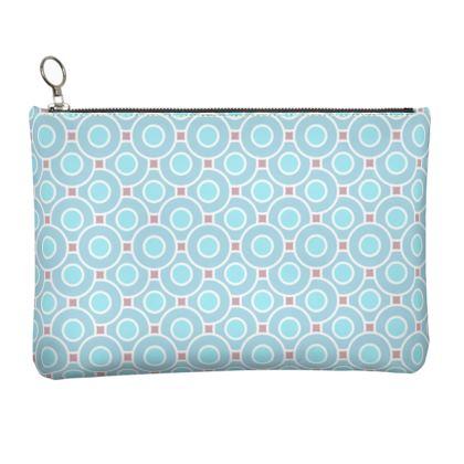 Blue tenderness - Leather Clutch Bag - elegant gift, soft, refined, female, geometric, romantic, airy, fresh, sweet, aerial, guipure - design by Tiana Lofd
