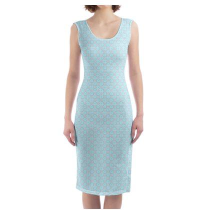 Blue tenderness - Bodycon Dress - elegant gift, soft, refined, female, geometric, romantic, airy, fresh, sweet, aerial, guipure - design by Tiana Lofd