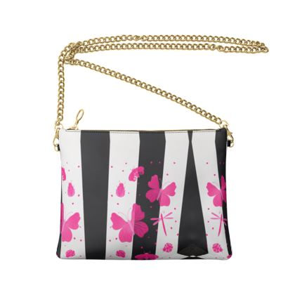 Crossbody Bag With Chain- Emmeline Anne Squares, Stripes and Butterflies