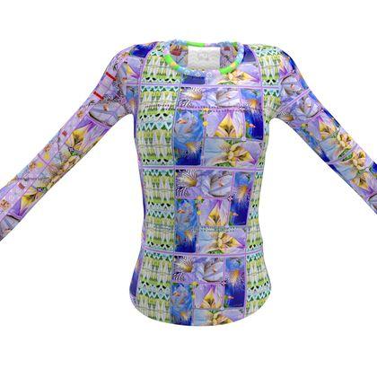 Schwertlilie Langarm DESIGNER Slim-Fit T-Shirt