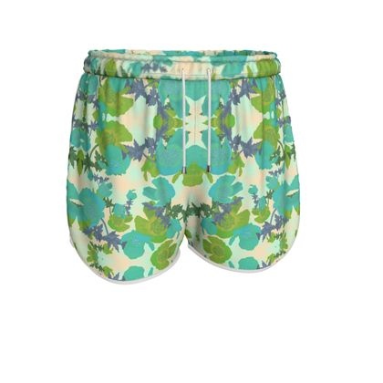 Womens Running Shorts Turquoise, Green, Floral  Field Poppies  Pharaoh