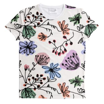Wild flowers - Cut And Sew All Over Print T Shirt - floral, large scale, hand drawing, colored spots, graphical, artistic, botanical, blossom, blooming plants, summer gift - design by Tiana Lofd