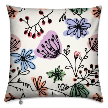 Wild flowers - Cushions - floral, large scale, hand drawing, colored spots, graphical, artistic, botanical, blossom, blooming plants, summer gift - design by Tiana Lofd