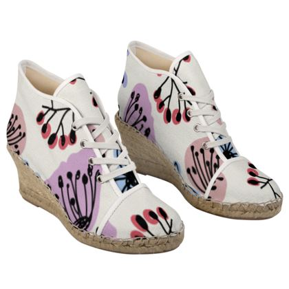 Wild flowers - Ladies Wedge Espadrilles - floral, large scale, hand drawing, colored spots, graphical, artistic, botanical, blossom, blooming plants, summer gift - design by Tiana Lofd
