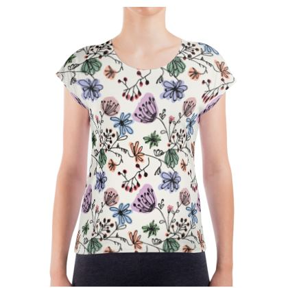 Wild flowers - Ladies T Shirt - floral, large scale, hand drawing, colored spots, graphical, artistic, botanical, blossom, blooming plants, summer gift - design by Tiana Lofd