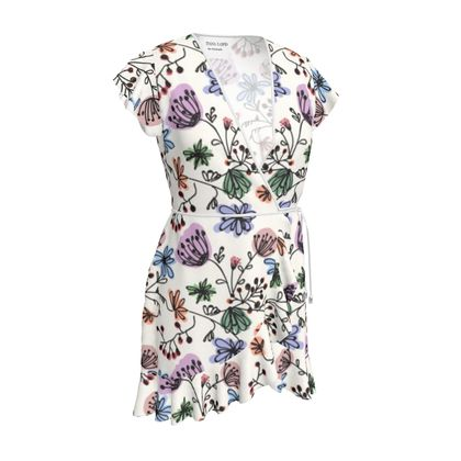 Wild flowers - Tea Dress - floral, large scale, hand drawing, colored spots, graphical, artistic, botanical, blossom, blooming plants, summer gift - design by Tiana Lofd