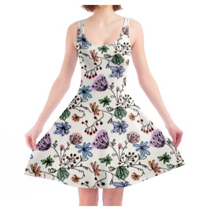 Wild flowers - Skater Dress - floral, large scale, hand drawing, colored spots, graphical, artistic, botanical, blossom, blooming plants, summer gift - design by Tiana Lofd