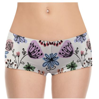 Wild flowers - Hot Pants - floral, large scale, hand drawing, colored spots, graphical, artistic, botanical, blossom, blooming plants, summer gift - design by Tiana Lofd