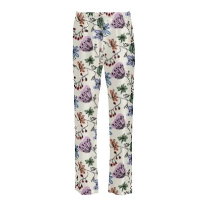 Wild flowers - Ladies Silk Pyjama Bottoms - floral, large scale, hand drawing, colored spots, graphical, artistic, botanical, blossom, blooming plants, summer gift - design by Tiana Lofd