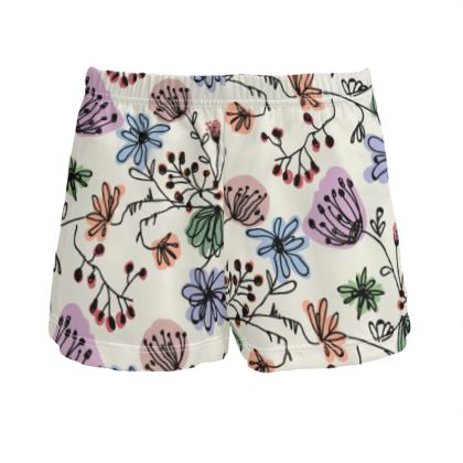 Wild flowers - Ladies Silk Pyjama Shorts - floral, large scale, hand drawing, colored spots, graphical, artistic, botanical, blossom, blooming plants, summer gift - design by Tiana Lofd