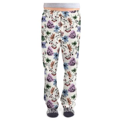 Wild flowers - Ladies Pyjama Bottoms - floral, large scale, hand drawing, colored spots, graphical, artistic, botanical, blossom, blooming plants, summer gift - design by Tiana Lofd