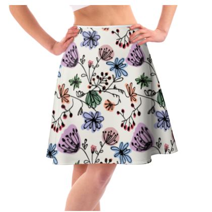 Wild flowers - Flared Skirt - floral, large scale, hand drawing, colored spots, graphical, artistic, botanical, blossom, blooming plants, summer gift - design by Tiana Lofd