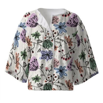 Wild flowers - Kimono Jacket - floral, large scale, hand drawing, colored spots, graphical, artistic, botanical, blossom, blooming plants, summer gift - design by Tiana Lofd