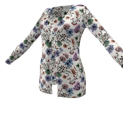 Wild flowers - Ladies Cardigan With Pockets - floral, large scale, hand drawing, colored spots, graphical, artistic, botanical, blossom, blooming plants, summer gift - design by Tiana Lofd