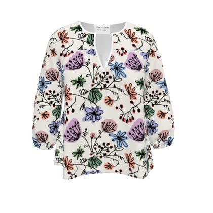 Wild flowers - Womens Blouse - floral, large scale, hand drawing, colored spots, graphical, artistic, botanical, blossom, blooming plants, summer gift - design by Tiana Lofd