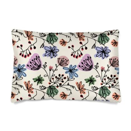 Wild flowers - Silk Pillow Cases sizes - floral, large scale, hand drawing, colored spots, graphical, artistic, botanical, blossom, blooming plants, summer gift - design by Tiana Lofd