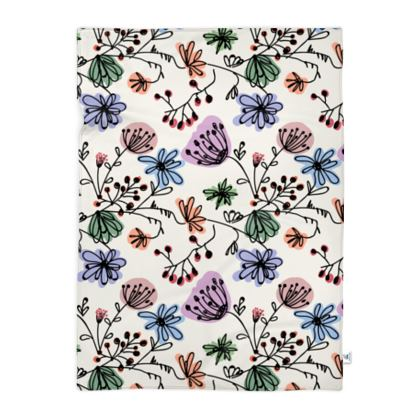 Wild flowers - Blanket - floral, large scale, hand drawing, colored spots, graphical, artistic, botanical, blossom, blooming plants, summer gift - design by Tiana Lofd