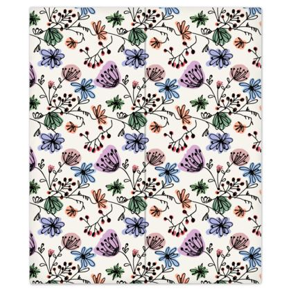 Wild flowers - Bed Sheets - floral, large scale, hand drawing, colored spots, graphical, artistic, botanical, blossom, blooming plants, summer gift - design by Tiana Lofd