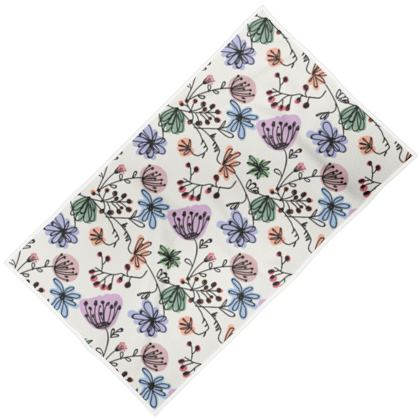 Wild flowers - Towels - floral, large scale, hand drawing, colored spots, graphical, artistic, botanical, blossom, blooming plants, summer gift - design by Tiana Lofd