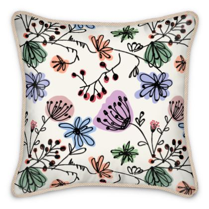 Wild flowers - Silk Cushions - floral, large scale, hand drawing, colored spots, graphical, artistic, botanical, blossom, blooming plants, summer gift - design by Tiana Lofd