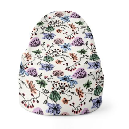 Wild flowers - Bean Bags - floral, large scale, hand drawing, colored spots, graphical, artistic, botanical, blossom, blooming plants, summer gift - design by Tiana Lofd
