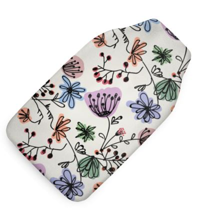 Wild flowers - Hot Water Bottle - floral, large scale, hand drawing, colored spots, graphical, artistic, botanical, blossom, blooming plants, summer gift - design by Tiana Lofd