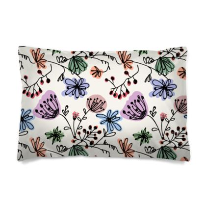 Wild flowers - Pillow Cases sizes - floral, large scale, hand drawing, colored spots, graphical, artistic, botanical, blossom, blooming plants, summer gift - design by Tiana Lofd