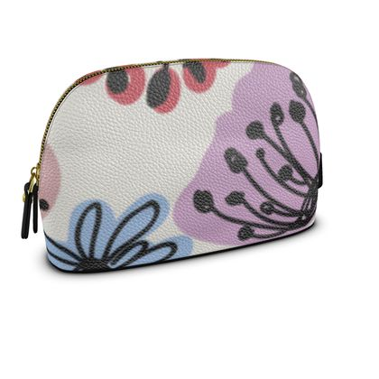 Wild flowers - Premium Nappa Make Up Bag - floral, large scale, hand drawing, colored spots, graphical, artistic, botanical, blossom, blooming plants, summer gift - design by Tiana Lofd